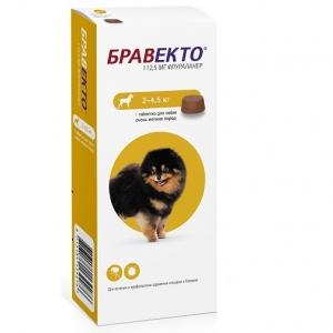 Бравекто (Bravecto) 112,5 мг (для собак миниатюрных пород 2-4,5кг)