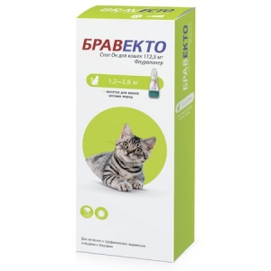 Бравекто капли от блох и клещей для кошек массой от 1,2 до 2,8 кг